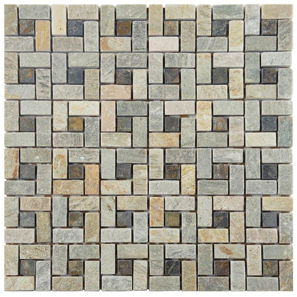 Merola Tile Crag Spiral Multi Sunset 12 In X 9 Mm Slate Mosaic Gdxcspms The Home Depot