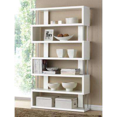 75.5 in. White Wood 6-shelf Accent Bookcase with Open Back