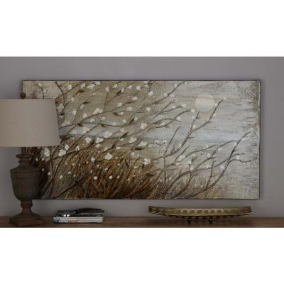 28 in. x 55 in. Flowering Pussy Willow Landscape in Brown and White Hand Painted Framed Canvas Wall Art