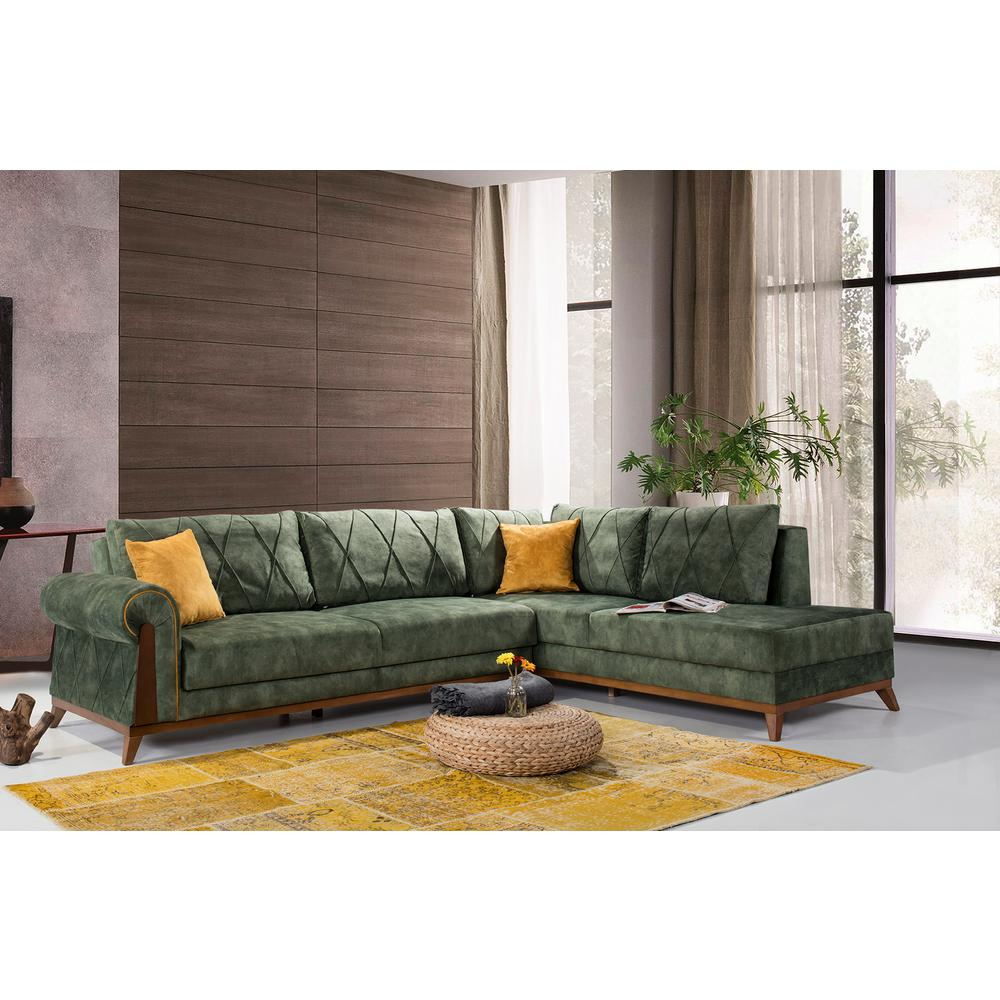 London 2-Piece Green Sectional