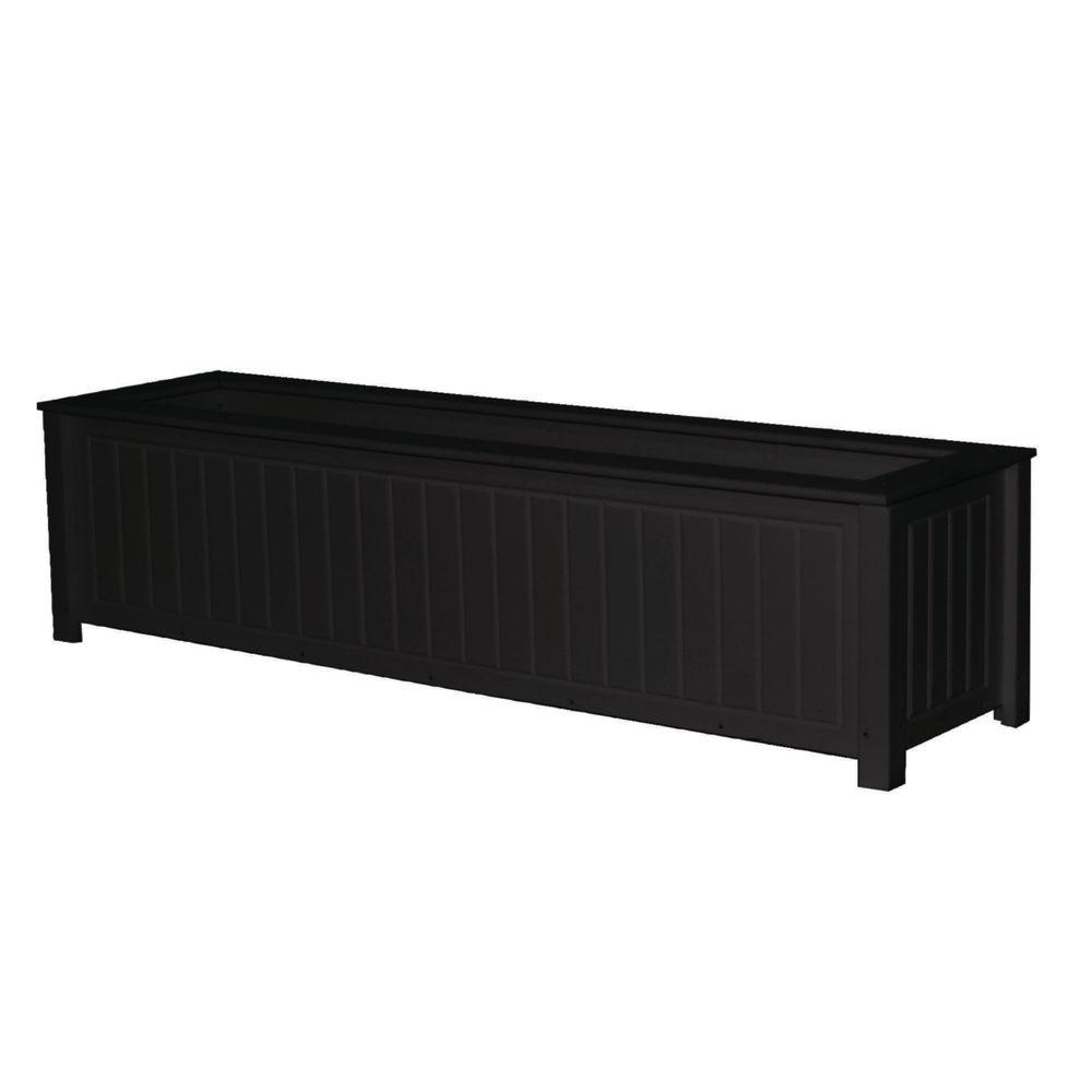 Eagle One North Hampton 48 in. x 12 in. Black Recycled Plastic Commercial Grade Planter Box