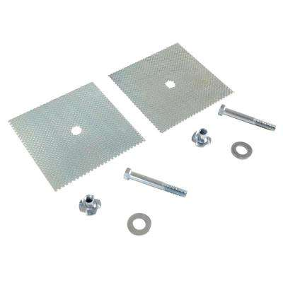 5 in. W. 0.625 in. H 5 in. D Silver Car Stop Glue Down Anchor Plate 2-Hole