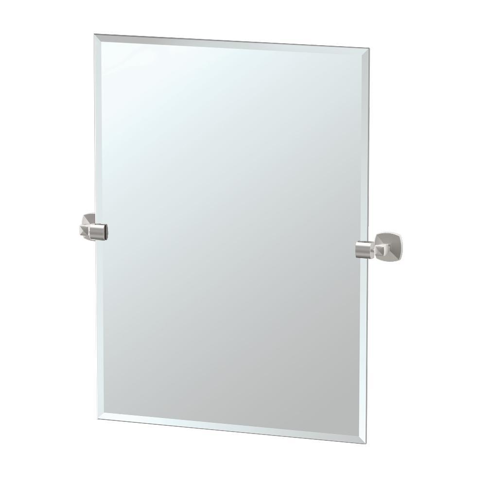 Jewel 32 in. x 28 in. Frameless Rectangle Mirror in Satin Nickel