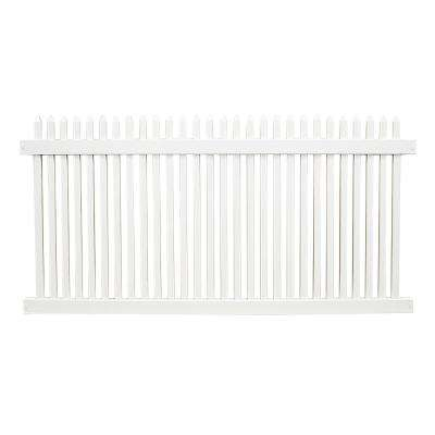Hartford 4 ft. H x 8 ft. W White Vinyl Picket Fence Panel Kit