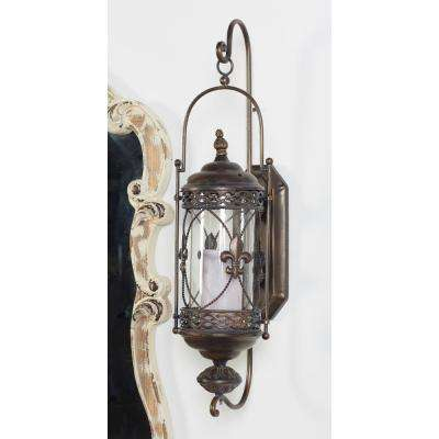 Fleur De Lis Brown Candle Lantern Wall Sconce