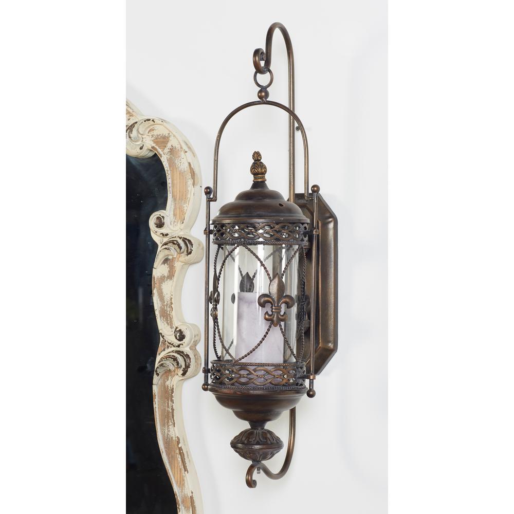 Fleur De Lis Brown Candle Lantern Wall Sconce