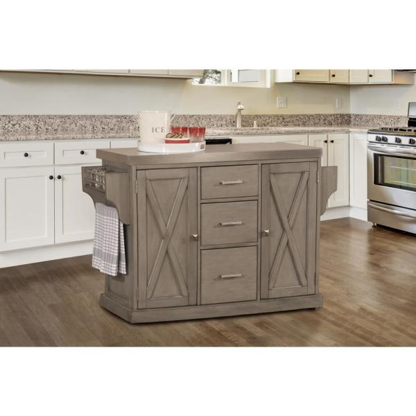Brigham Gray Kitchen Island with Stainless Steel Top