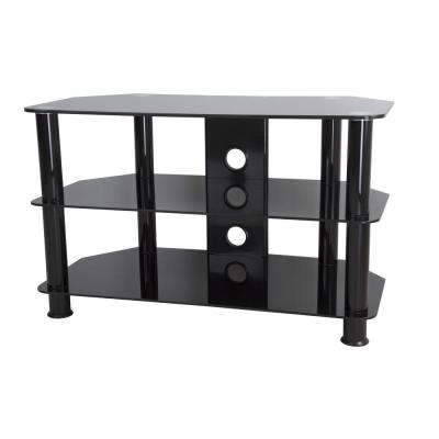 31.5 in. Black Glass TV Stand Fits TVs Up to 42 in. with Open Storage