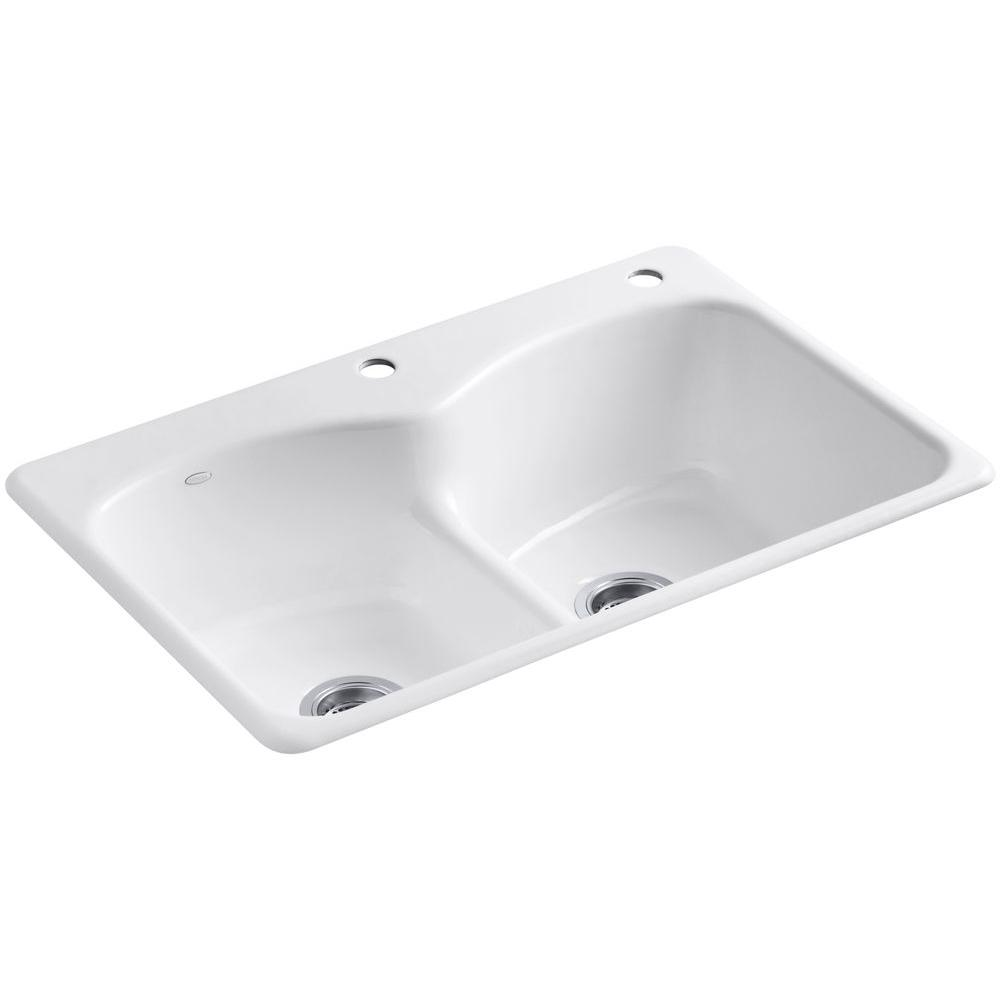 KOHLER Langlade Smart Divide Drop-In Cast-Iron 33 in. 1-Hole ...