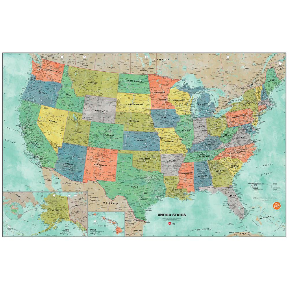 WallPOPs 36 in x 24 in Aquarelle US Dry Erase Map Wall Decal
