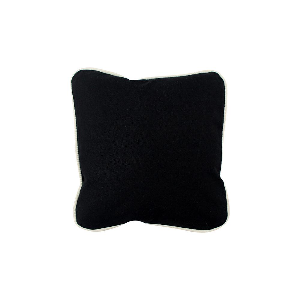 12 in. x 12 in. Black Standard Pillow with Green Eco