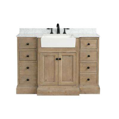 Kelly 48 in. Single Bath Vanity in Weathered Fir with Marble Vanity Top in Carrara White with White Farmhouse Basin