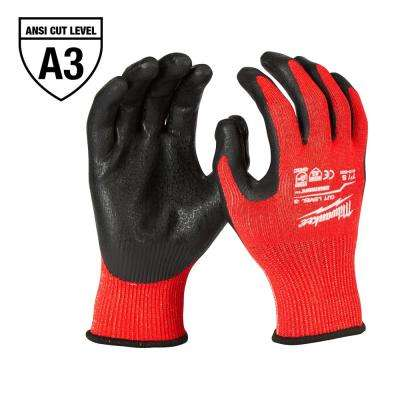 Large Red Nitrile Level 3 Cut Resistant Dipped Work Gloves