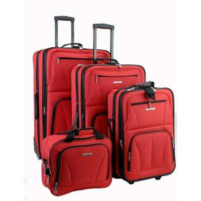 Rockland Sydney Collection Expandable 4-Piece Softside Luggage Set, Red