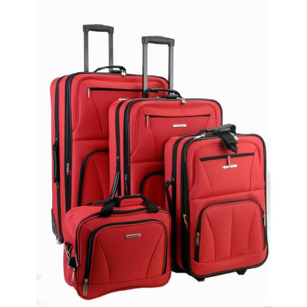 Rockland Rockland Sydney Collection Expandable 4-Piece Softside Luggage Set, Red