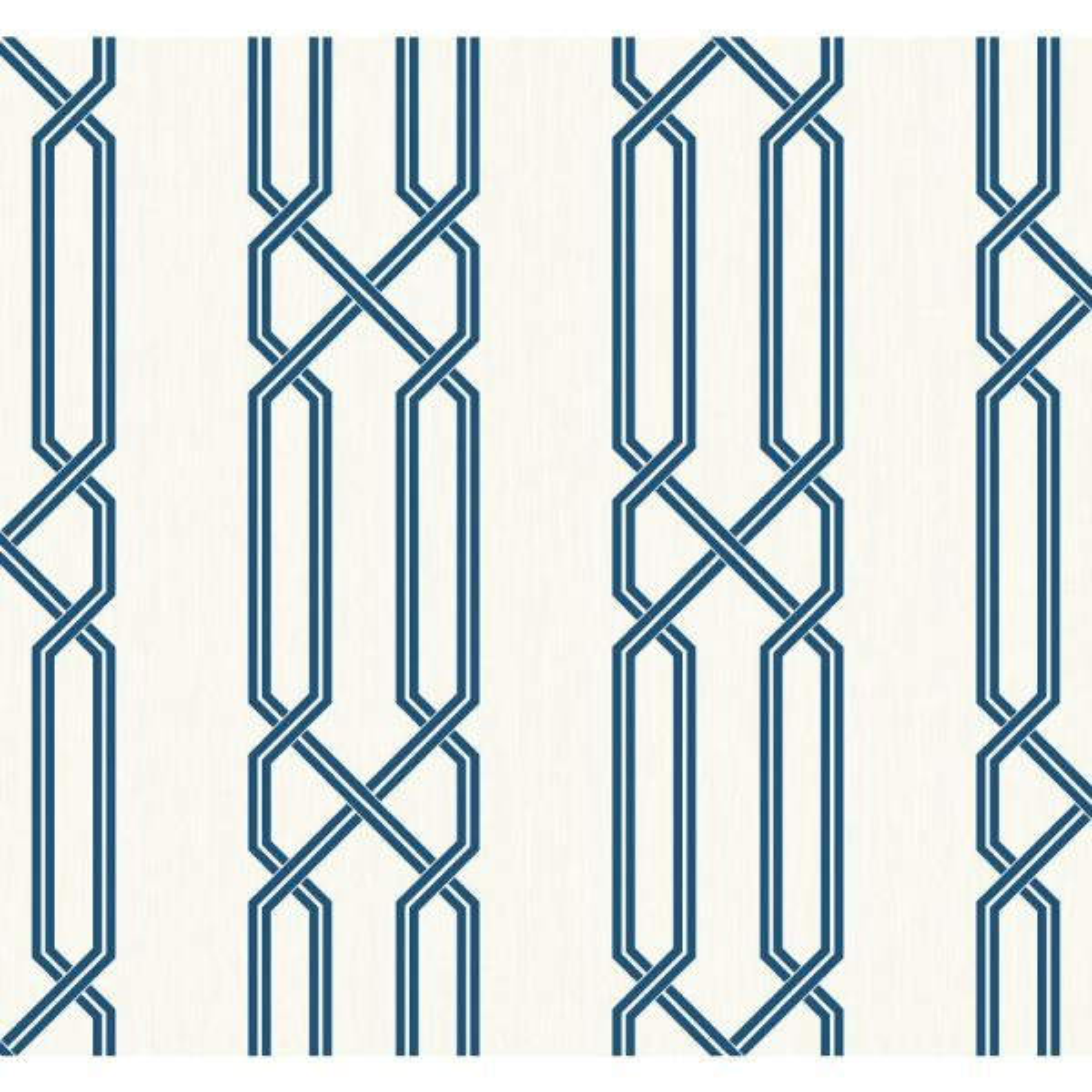 Seabrook Designs Lattice Metallic Pearl and Navy Contemporary Wallpaper OA23902