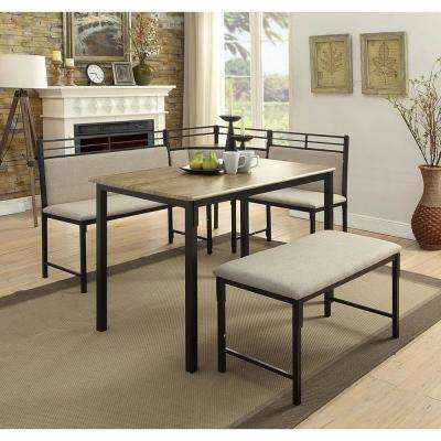 Boltzero 3-Piece Black and Tan Corner Dining Nook Set
