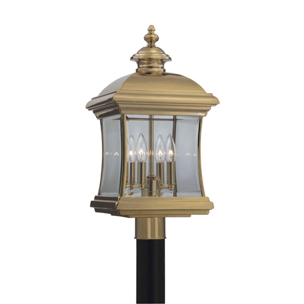 Cordelia Lighting Yorkshire 3-Light Outdoor Polished Brass Post Lantern-DISCONTINUED