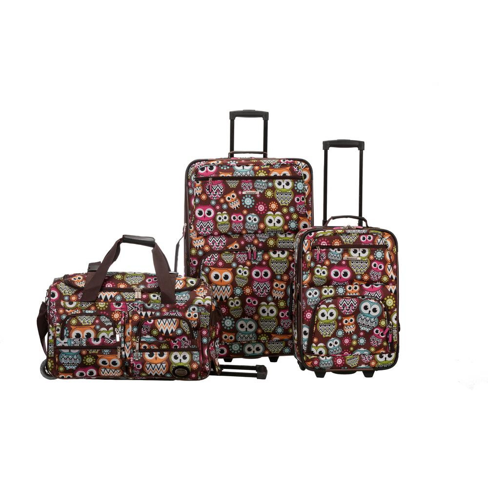 Rockland Expandable Spectra 3-Piece Softside Luggage Set, Owl