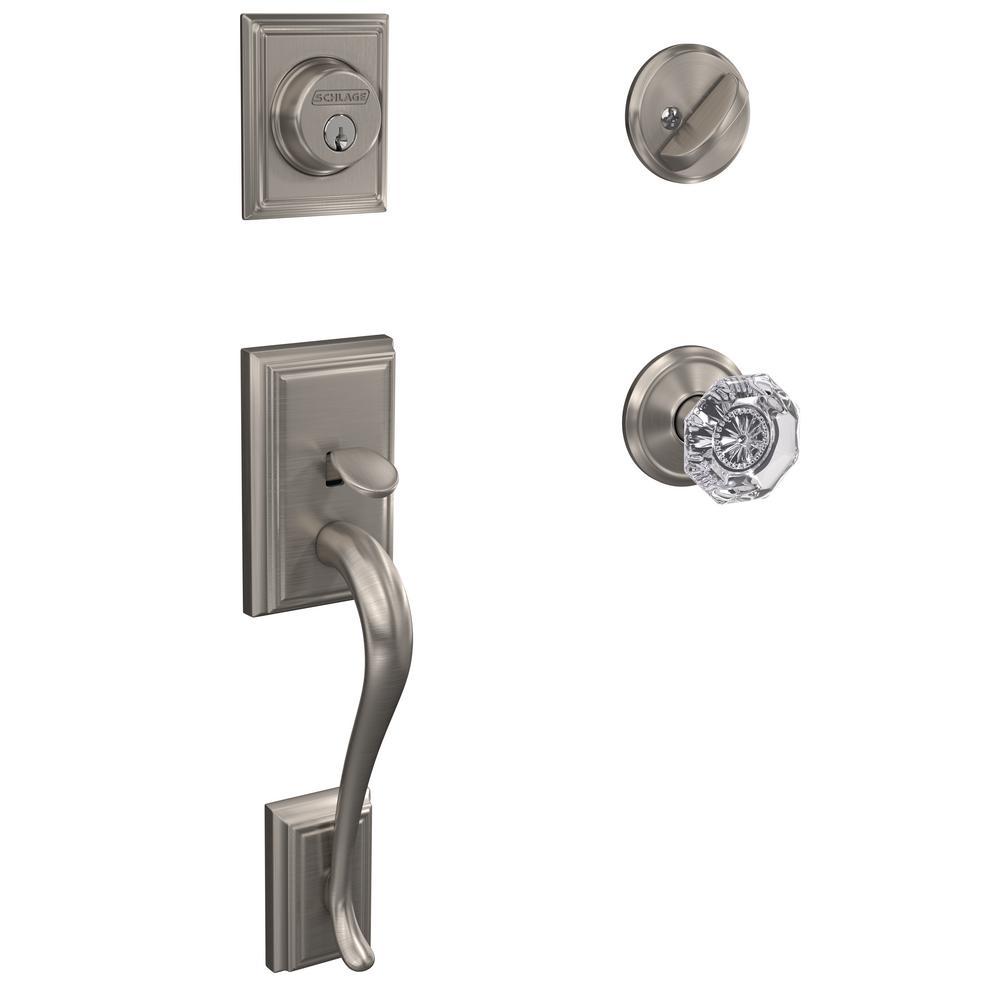 Custom Addison Satin Nickel Single Cylinder Door Handleset with Alexandria Glass Door Knob