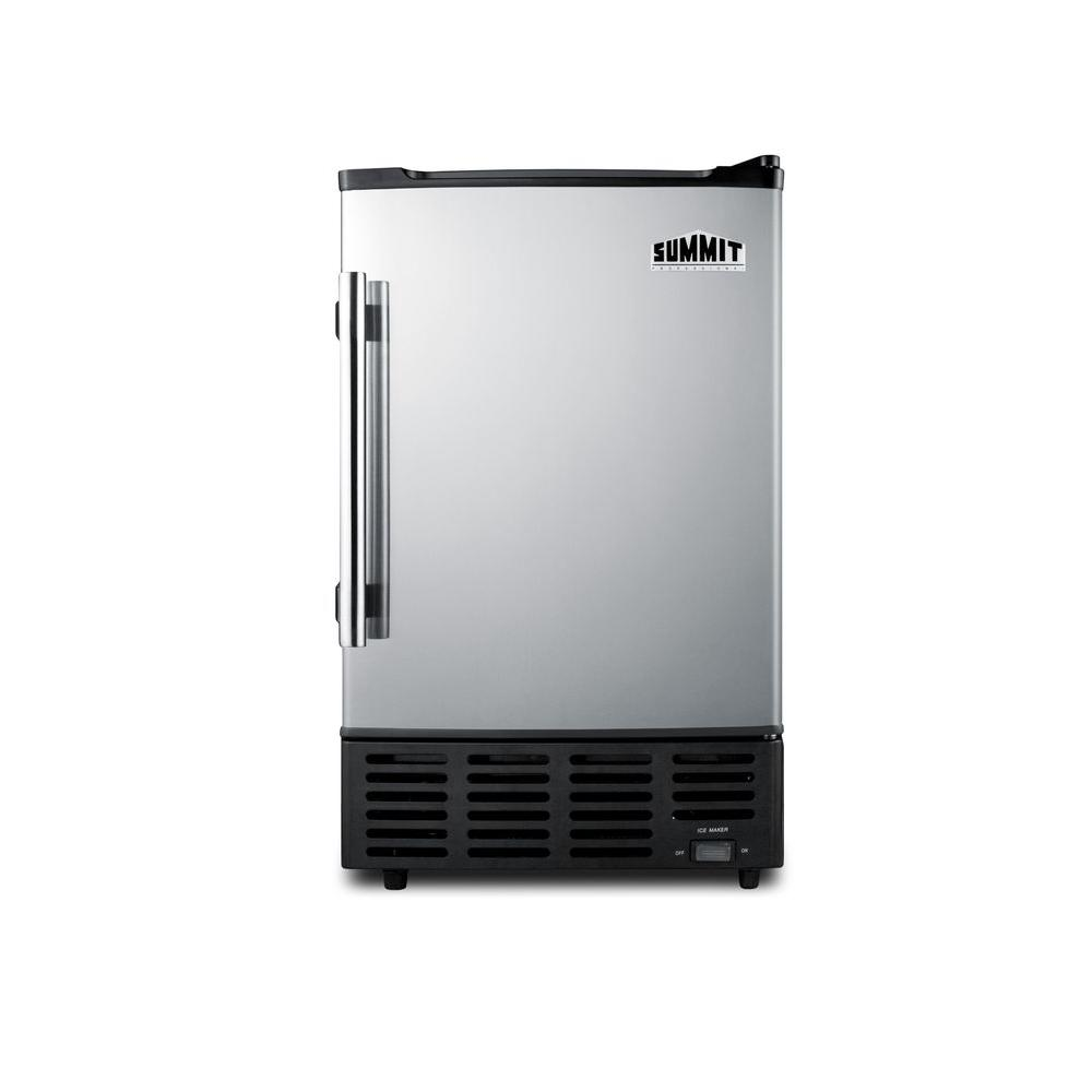 Summit Appliance 15 in. 10 lb. Built-In Icemaker in Platinum