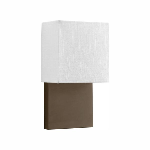 LED Wall Sconces Collection 9 -Watt Architectural Bronze Integrated LED Wall Sconce with White Linen Shade