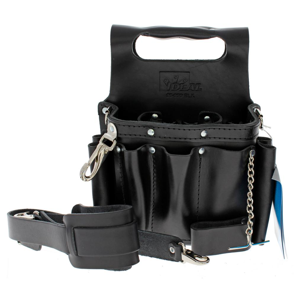 9 in. W Tuff-Tote Premium Black Leather Tool Bag with Strap