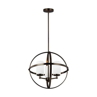 Alturas 3-Light Brushed Oil Rubbed Bronze Orb Chandelier with Satin Etched Glass Shades and LED Bulbs
