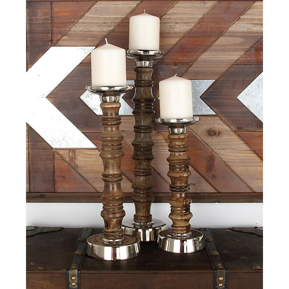 Silver Aluminum and Oak Brown Round Segmented Post Candle Holders (Set