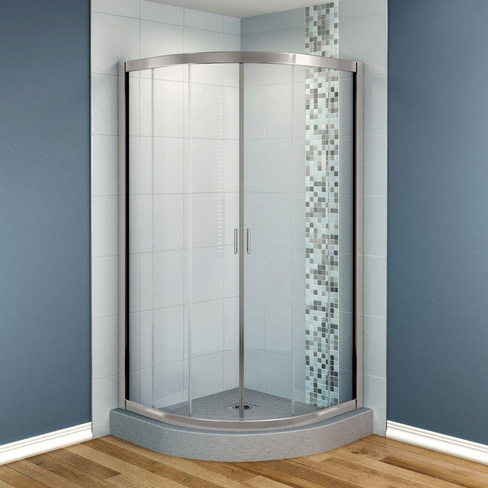 MAAX Intuition 36 in. x 36 in. x 70 in. Neo-Round Frameless Corner Shower Door with Clear Glass in Nickel Finish-DISCONTINUED