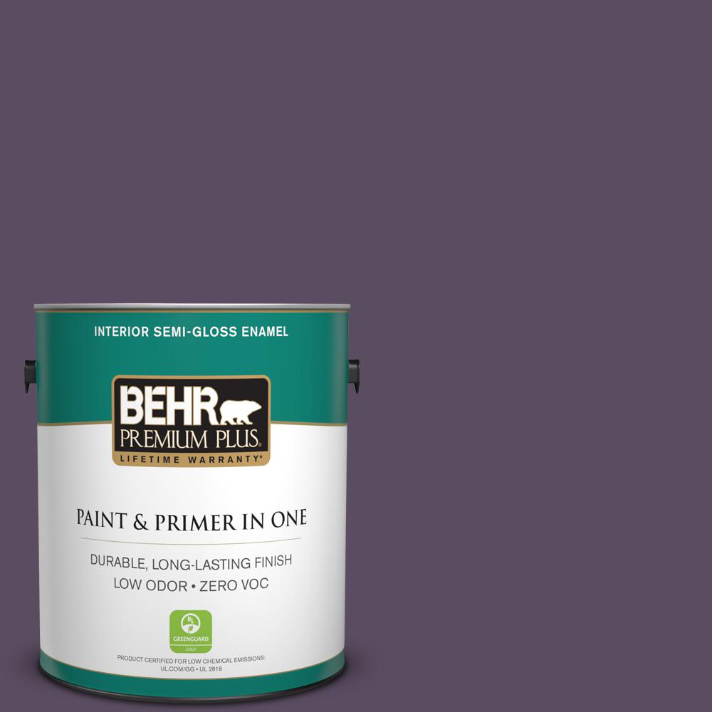 1-gal. #660F-7 Napa Grape Zero VOC Semi-Gloss Enamel Interior Paint