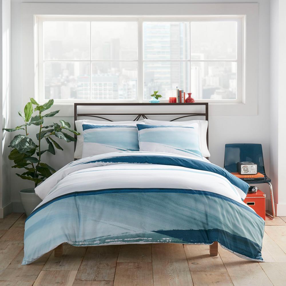 Aquarelle Navy 3-Piece Microfiber King Comforter/Sham Set