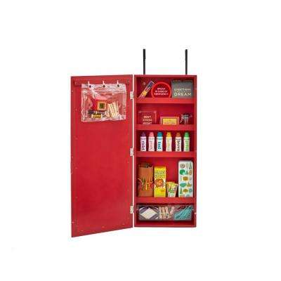 Wall Cabinet Organizer with Chalkboard, Red