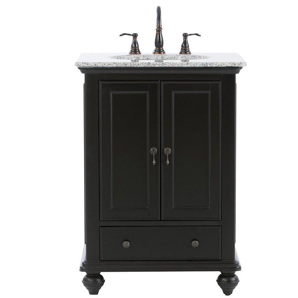 Home Decorators Collection Newport 25 In W X 21 1 2 In D Bath Vanity In Black With Granite Vanity Top In Gray 9085 Vs25h Bk The Home Depot