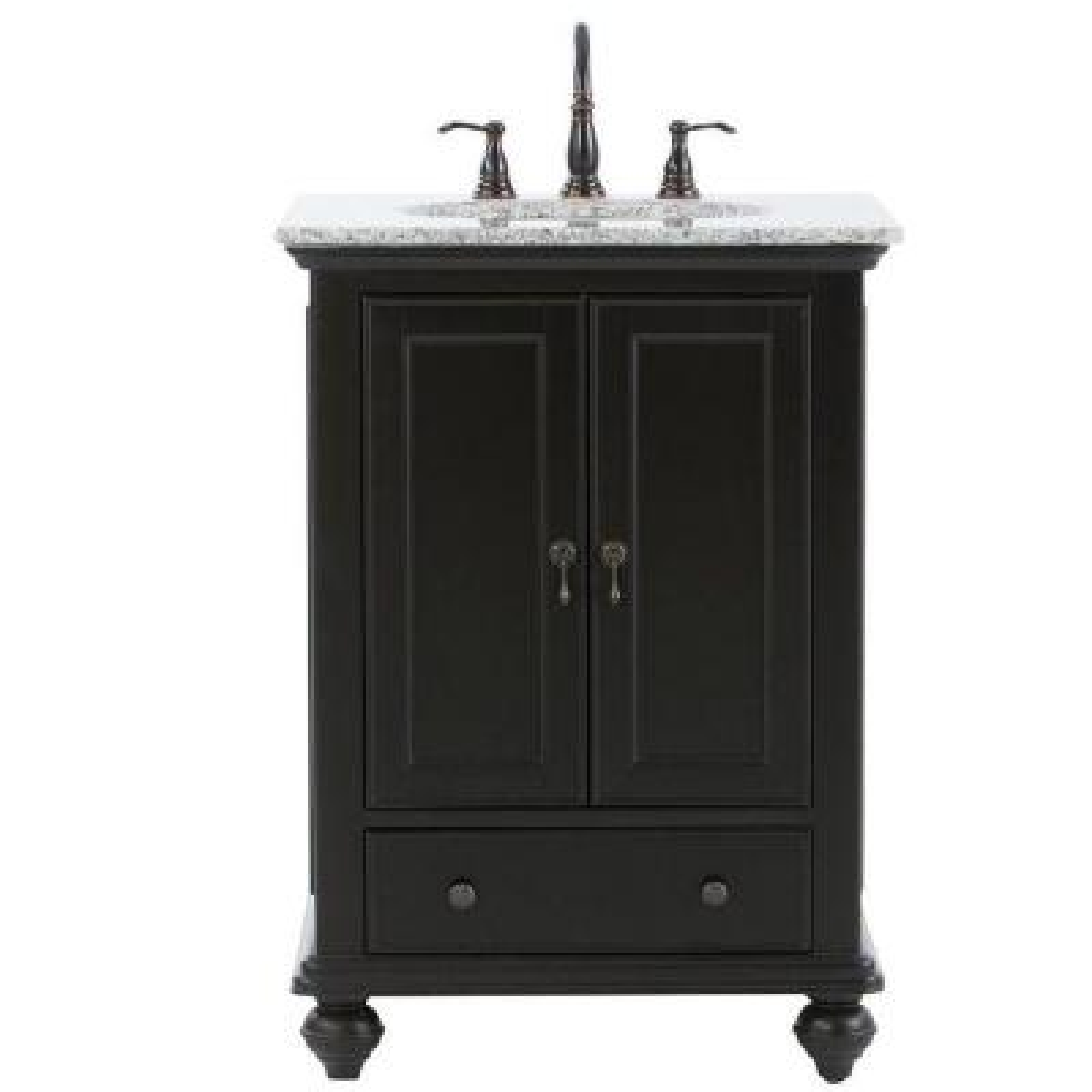 Newport 25 in. W x 21-1/2 in. D Bath Vanity in Black with Granite Vanity Top in Gray