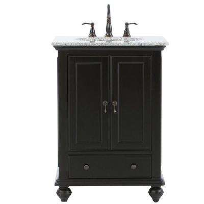 Newport 25 in. W x 21-1/2 in. D Bath Vanity in Black with Granite Vanity Top in Gray