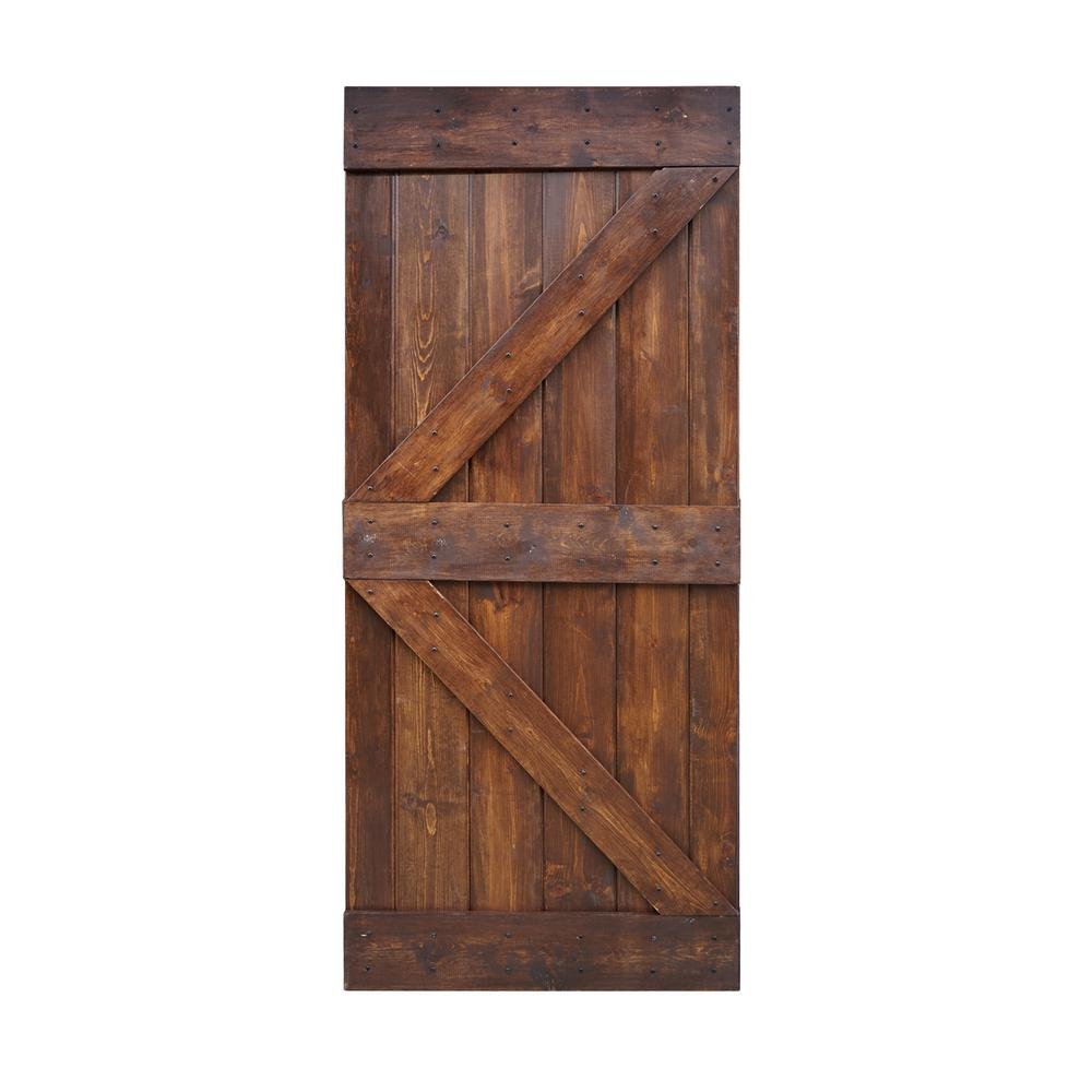 WELLHOME 36 in. x 84 in. K Series DIY Dark Walnut Finished Knotty Pine Wood Barn Door