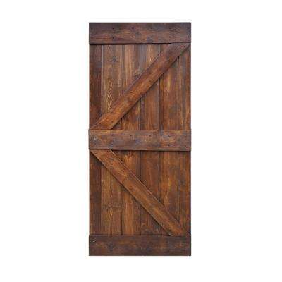 36 in. x 84 in. K Series DIY Dark Walnut Finished Knotty Pine Wood Barn Door