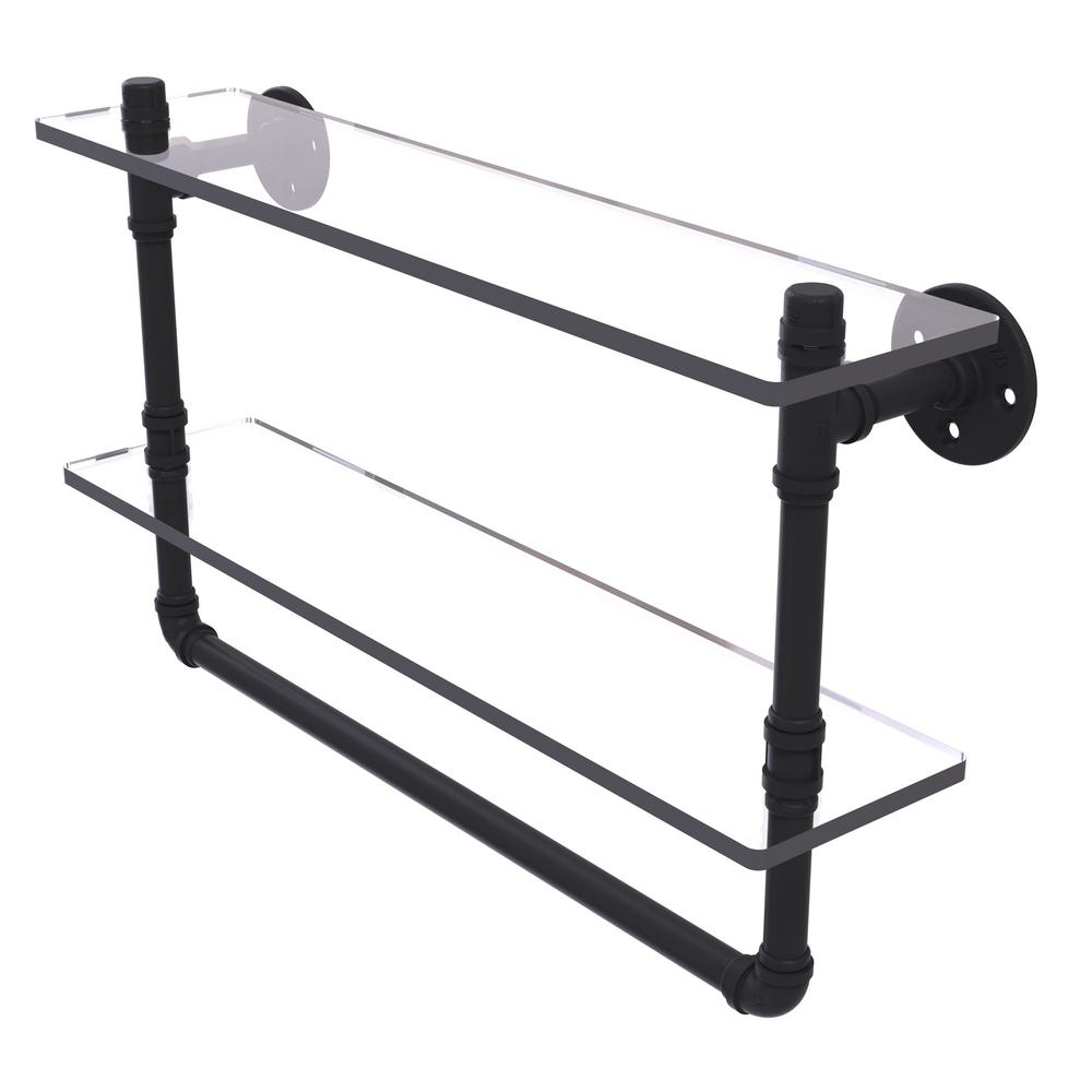 Allied brass pipeline collection 22 in doulbe glass shelf Glass towel bar