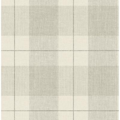 Newcastle Metallic Pearl and Greige Plaid Wallpaper