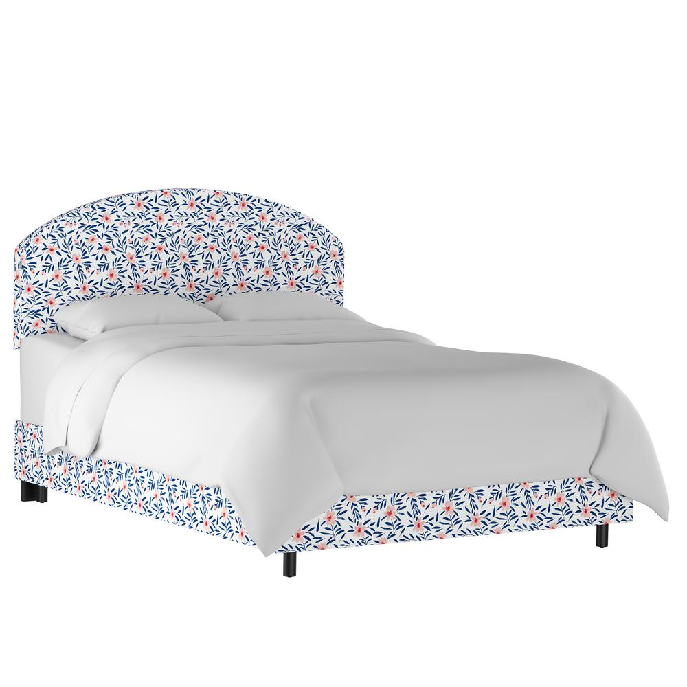 Skyline furniture fiona floral porcelain blush california king curved headboard bed