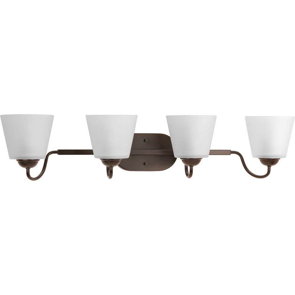 Arden Collection 4-Light Antique Bronze Vanity Light with Etched Glass Shades