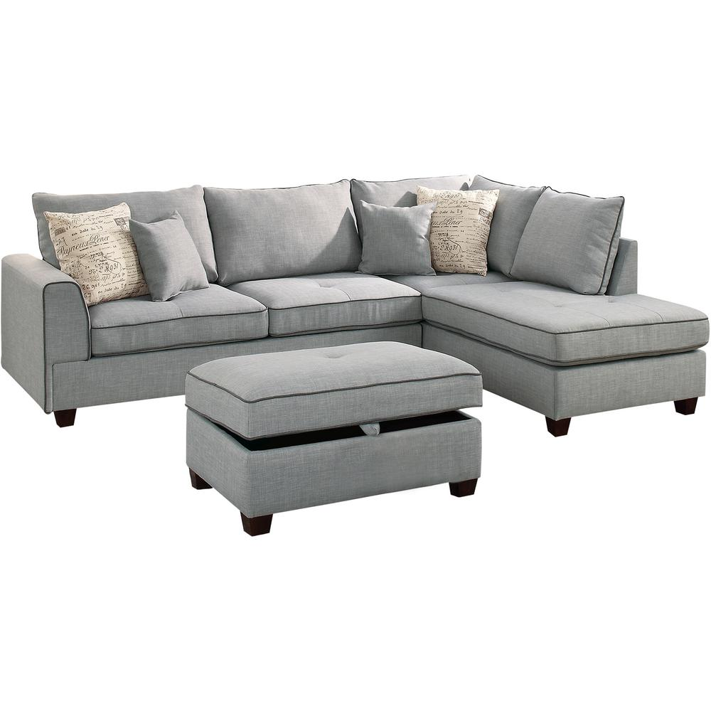 Venetian Worldwide Siena 3 Piece Sectional Sofa In Light Gray With Storage Ottoman