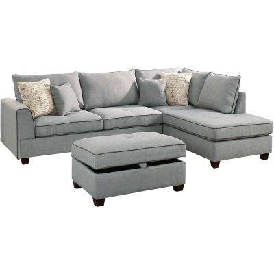 Classic Convertible Sectional Gray Furniture The Home Depot