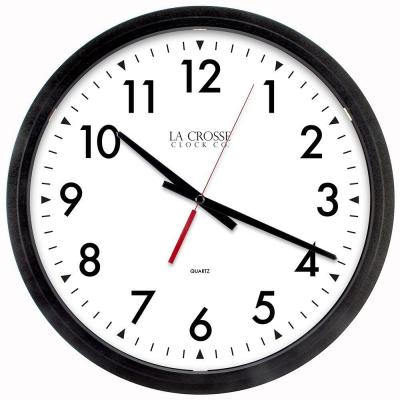14 in. W x 14 in. H Black Round Commercial Analog Wall Clock