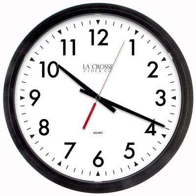 H Black Round Commercial Analog Wall Clock