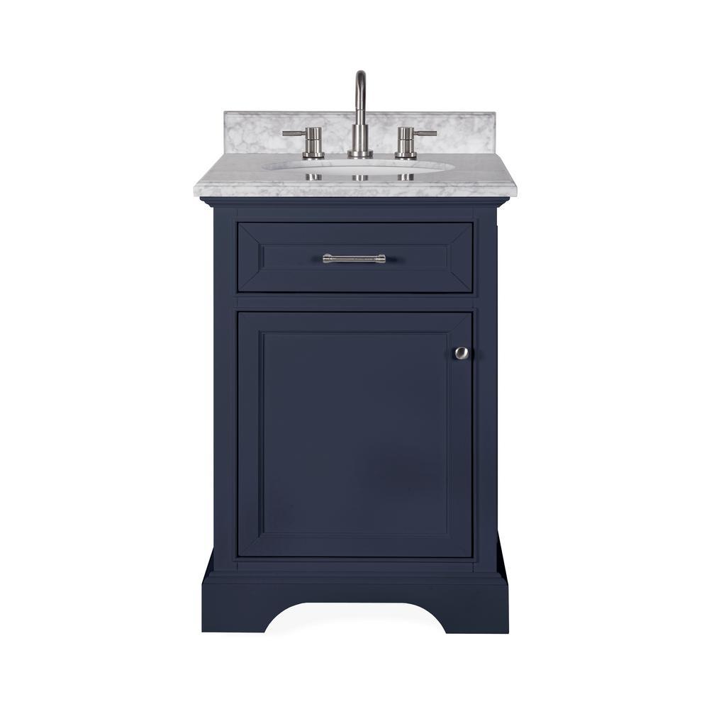 Windlowe 25 in. W x 22 in. D x 35 in. H Bath Vanity in Navy Blue with Carrara Marble Vanity Top in White with White Sink