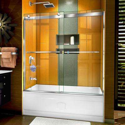 Sapphire 56 in. to 60 in. W x 60 in. H Semi-Frameless Bypass Tub Door in Chrome
