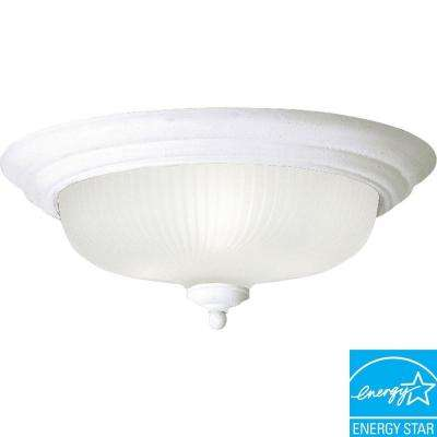 14.75 in. Swirled Glass Collection 3-Light White LED Flushmount