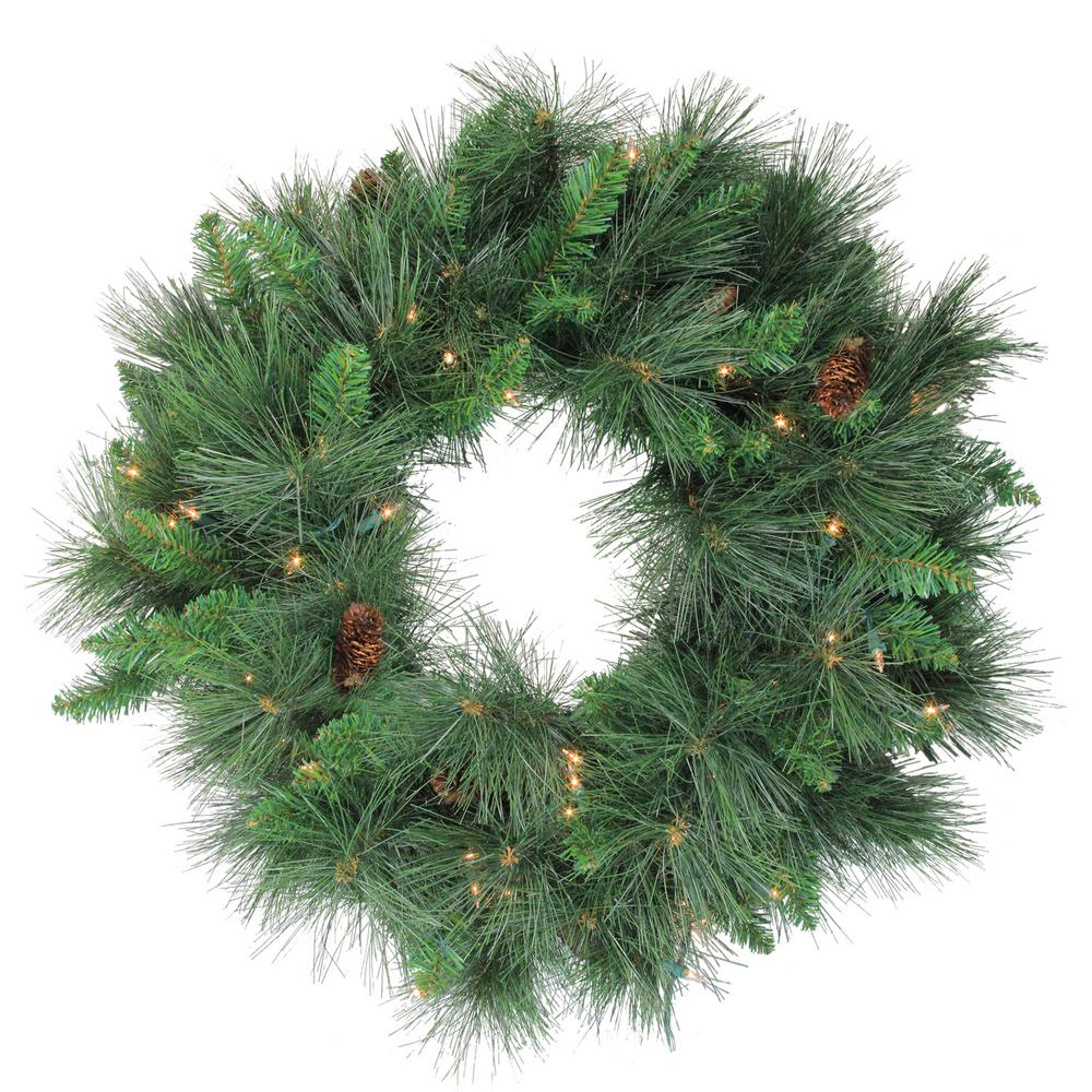 Northlight 24 in. Pre-Lit White Valley Pine Artificial Christmas Wreath with Clear Lights